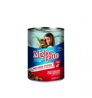 Консервы Miglior gatto Beef для кошек, кусочки с говядиной в соусе (0,405 кг)