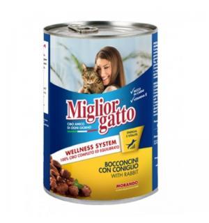 Консервы Miglior gatto Rabbit для кошек, кусочки с кроликом в соусе (0,405 кг)