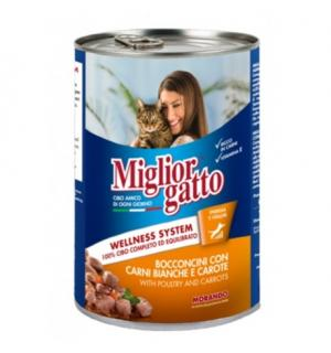 Консервы Miglior gatto Poultry/Carrots для кошек, кусочки с курицей и морковью в соусе (0,405 кг)