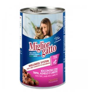 Консервы Miglior gatto Tripe/Lamb/Carrots для кошек, кусочки с рубцом, ягнёнком и морковью в соусе (0,405 кг)