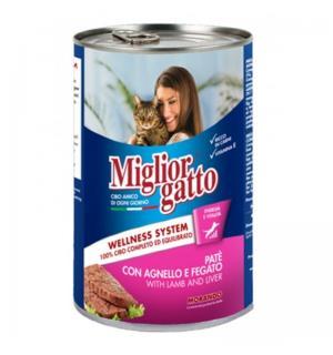 Консервы Miglior gatto Lamb/Liver для кошек, паштет с ягнёнком и печенью (0,4 кг)