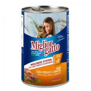 Консервы Miglior gatto Veal/Carrots для кошек, паштет с телятиной и морковью (0,4 кг)