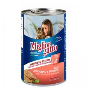 Консервы Miglior gatto Tuna/Salmon для кошек, паштет с лососем и тунцом (0,4 кг)