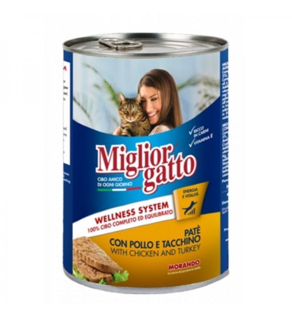 Консервы Miglior gatto Chicken/turkey для кошек, паштет с курицей и индейкой (0,4 кг)