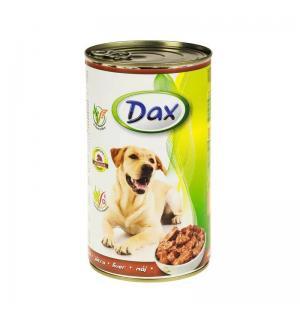 Консервы Dax for Dog для cобак, с печенью, кусочками (1,240 кг)