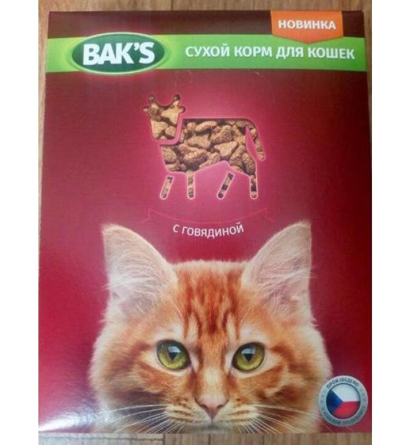 Сухой корм  Baks for Cats для кошек, с говядиной (10 кг)