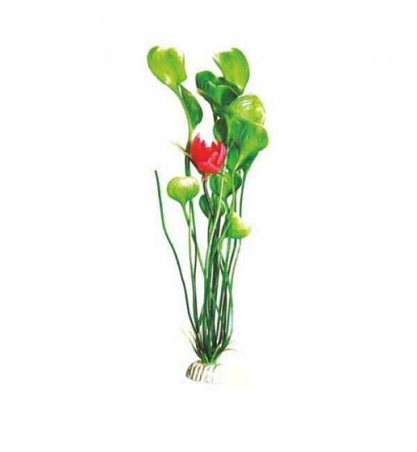Пластиковое растение Barbus Plant 018 - Кувшинка ЗЕЛЕНАЯ с цветком, 30см