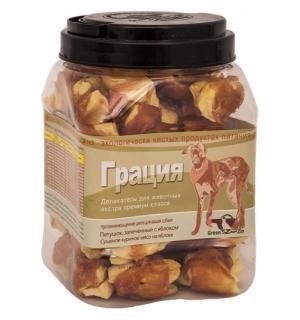 Лакомства GREENQZIN ГРАЦИЯ (Сушеное гусиное мясо на яблоке)(туба) (0,75 кг)