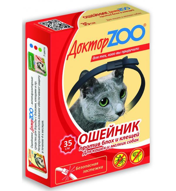 БИОошейник Доктор ЗОО от блох и клещей для кошек и мелких собак, красный 35 см