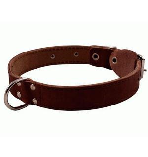 Ошейник  кожаный с кольцом посередине шир. 12мм обх. шеи 24-28 см
