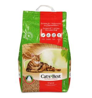 Наполнитель древесный комкующийся CATS BEST Original, гранулы, суперпоглащение влаги (10 л)