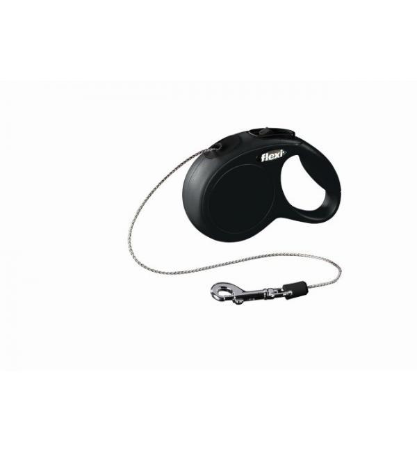 Рулетка-трос Flexi New classic cat 3м 8кг черная (0,118 кг)