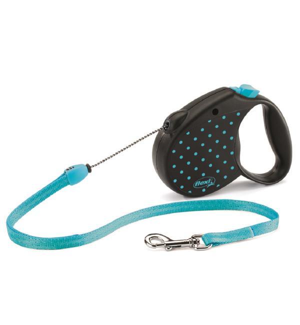 Рулетка-поводок Flexi  Color M Dots Трос 5м голубая