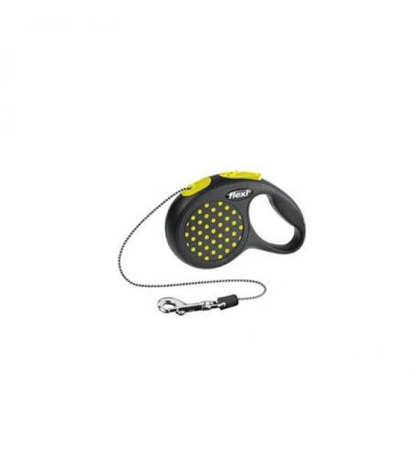 Рулетка-поводок Flexi DESIGN XS трос 3м желтая