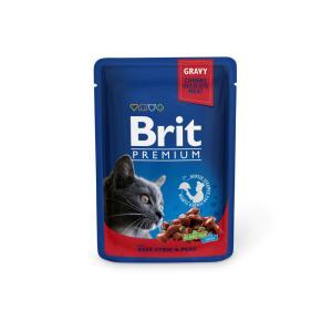 Влажный корм Brit Premium для кошек, говядина и горошек (0,1 кг)