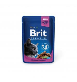 Влажный корм Brit Premium для кошек, курица и индейка (0,1 кг)