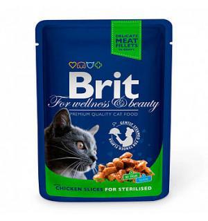 Влажный корм Brit Premium для стерилизованных кошек, курица (0,1 кг)