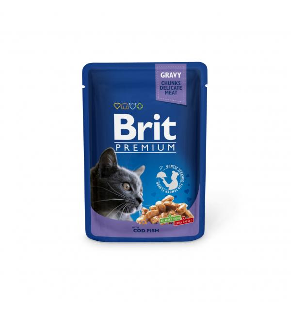 Влажный корм Brit Premium для кошек, треска (0,1 кг)