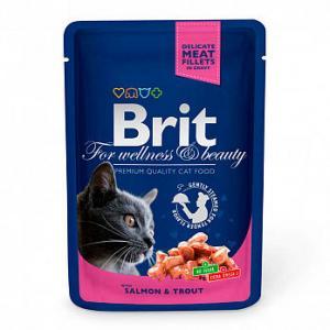 Влажный корм Brit Premium для кошек, лосось и форель (0,1 кг)