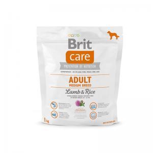 Сухой корм Brit Care для взрослых собак средних пород, ягненок с рисом (1 кг)