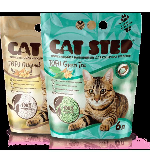 Наполнитель Cat Step Tofu Green Tea, растительный комкующийся (6 л)