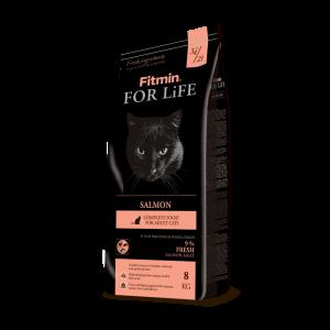 Сухой корм Fitmin For Life Salmon для взрослых кошек, лосось (8 кг)