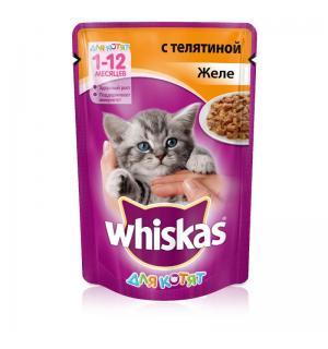 Влажный корм Whiskas для котят от 1 до 12 месяцев, желе с телятиной (0,085 кг)