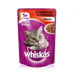 Влажный корм Whiskas для взрослых кошек, желе с говядиной и ягненком (0,085 кг)