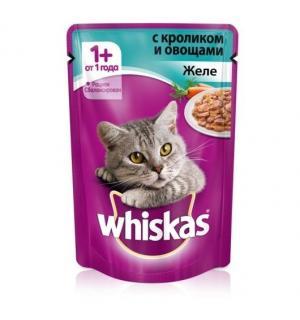 Влажный корм Whiskas для взрослых кошек, желе с кроликом (0,085 кг)