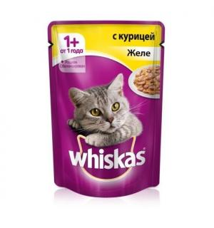 Влажный корм Whiskas для взрослых кошек, желе с курицей (0,085 кг)