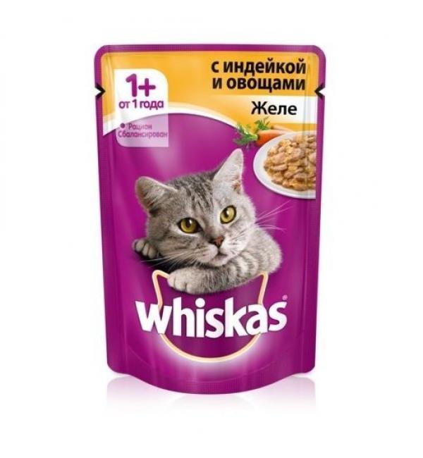 Влажный корм Whiskas для взрослых кошек, желе с индейкой (0,085 кг)