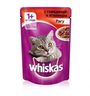 Влажный корм Whiskas для взрослых кошек, рагу с говядиной и ягненком (0,085 кг)