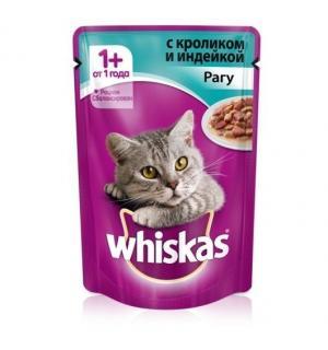 Влажный корм Whiskas для взрослых кошек, рагу с кроликом и индейкой (0,085 кг)