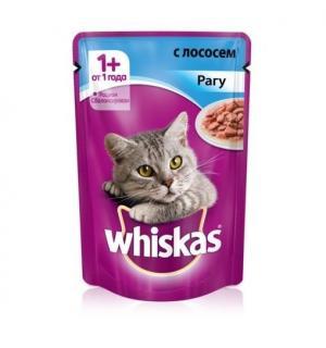 Влажный корм Whiskas для взрослых кошек, рагу с лососем (0,085 кг)