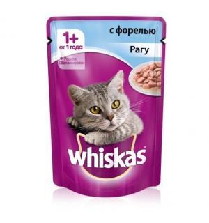 Влажный корм Whiskas для взрослых кошек, рагу с форелью (0,085 кг)