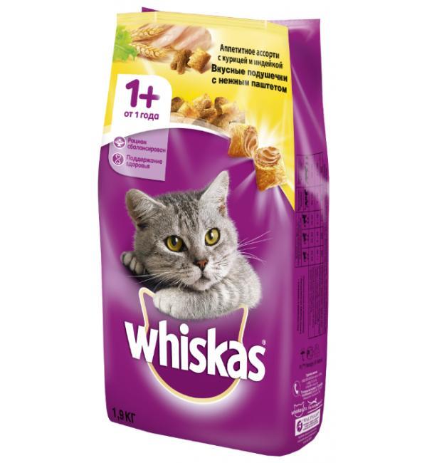 Сухой корм Whiskas для взрослых кошек (подушечки с курицей и индейкой)