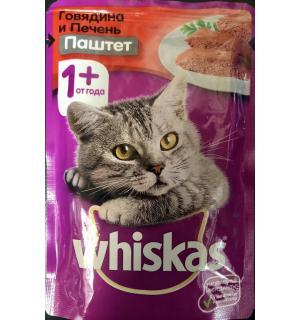 Влажный корм Whiskas для взрослых кошек, паштет с говядиной и печенью (0,085 кг)