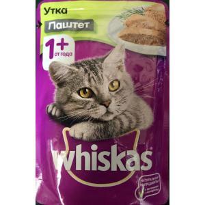 Влажный корм Whiskas для взрослых кошек, паштет с уткой (0,085 кг)