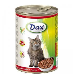 Консервы для кошек Dax, кусочки с говядиной (415 г)