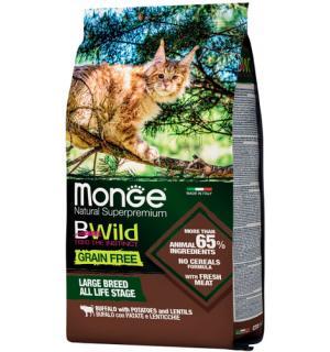 Сухой беззерновой корм MONGE BWILD GF LARGE BUFFALO/POTATOES для кошек крупных пород с мясом буйвола и картофелем (10 кг)