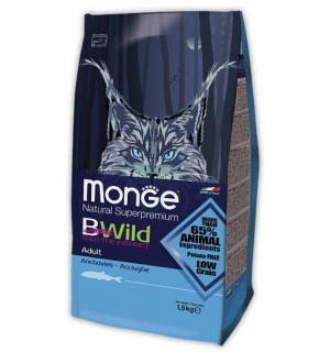 Сухой низкозерновой корм Monge Superpremium Cat BWILD для взрослых кошек, с анчоусами (10 кг)
