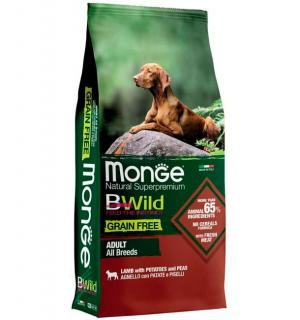 Сухой беззерновой корм Monge BWILD ADULT LAMB для взрослых собак всех пород с ягненком (15 кг)