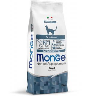 Сухой монопротеиновый корм Monge Sterilized TROUT для стерилизованных кошек с форелью (10 кг)
