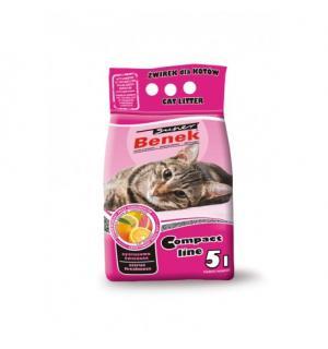 Наполнитель для кошек S.Benek комкующийся Compact цитрусовая свежесть (5л)