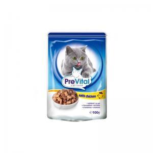 Консервы PreVital Classic для кошек, с курицей в соусе (0,1 кг)