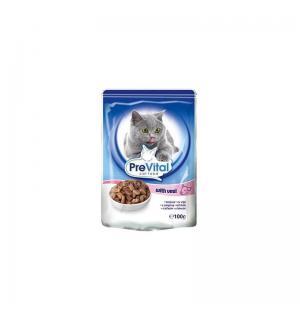Консервы PreVital Classic для кошек, с телятиной в соусе (0,1 кг)