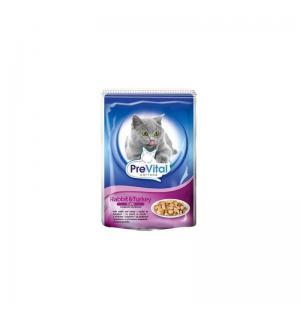 Консервы PreVital Classic для кошек, кролик/индейка в желе (0,1 кг)