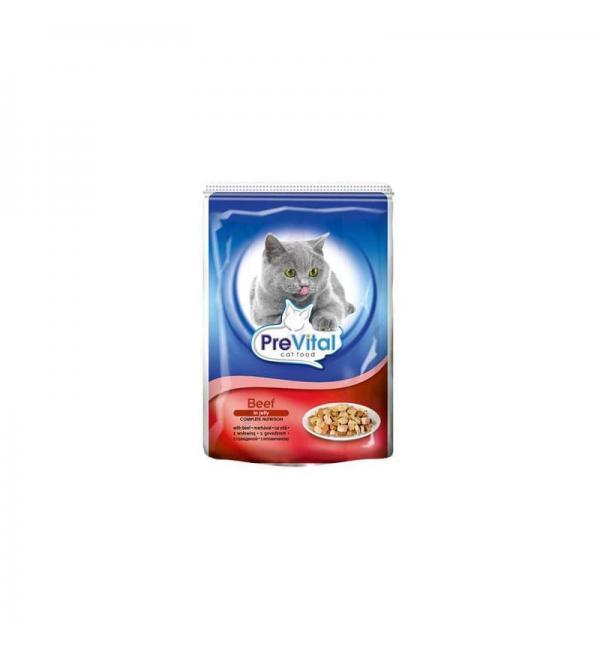 Консервы PreVital Classic для кошек в желе, говядина (0,1 кг)