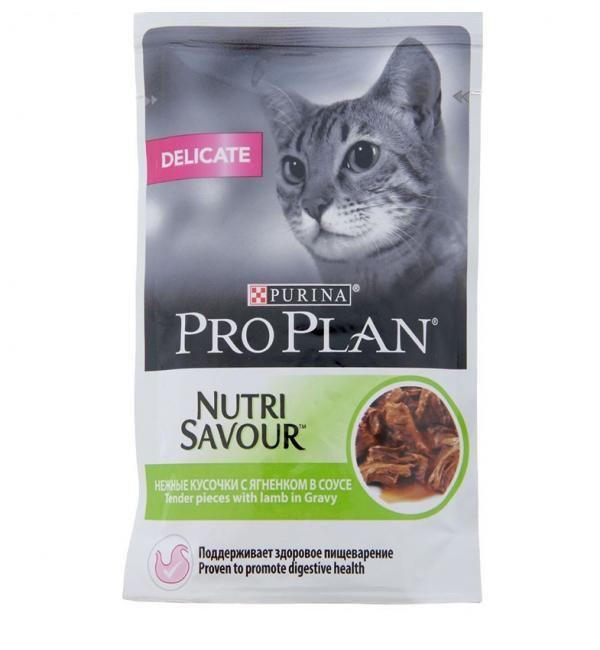 Влажный корм Pro Plan Nutri Savour для взрослых кошек с чувствительным пищеварением или с особыми предпочтениями в еде, с ягненком в соусе (0,425 кг)