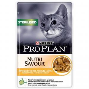 Влажный корм Pro Plan для стерилизованных кошек и кастрированных котов, с курицей в соусе (0,085 кг)
